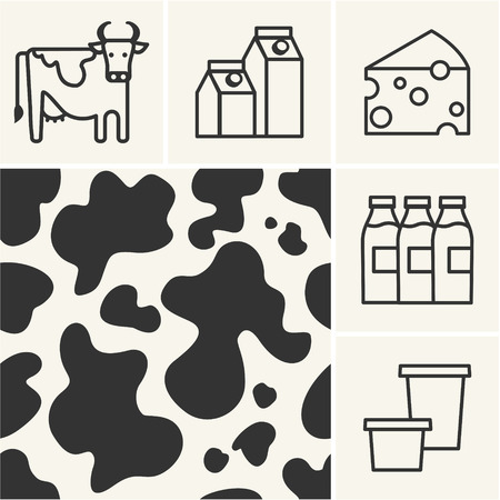 milk production: Web icons Dairy milk and cow skin seamless pattern.