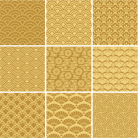 Gold seamless wave patterns for web background, surface Vettoriali