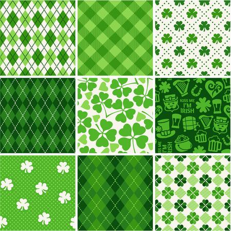 celtic shamrock: Set of St. Patricks Day Seamless Patterns