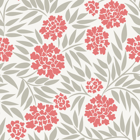 Seamless floral background with peonies Vectores
