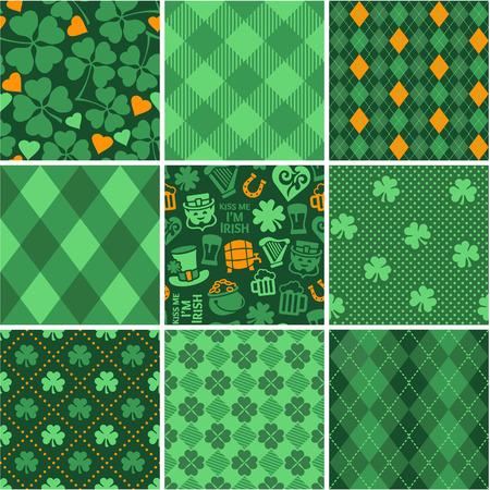 leprechaun background: Set of St. Patricks Day Seamless Patterns