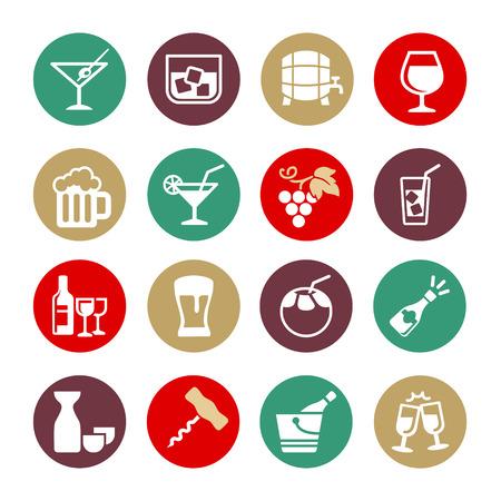 bottle screw: Alcohol drink - web icon set