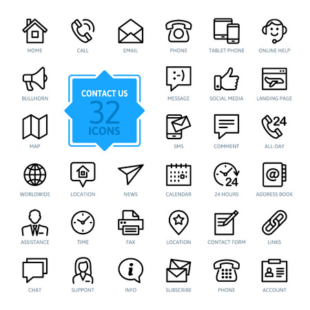 smart phone woman: Outline web icons set - Contact us