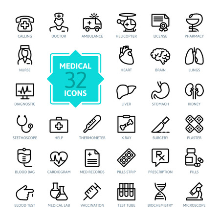 pharmacy equipment: Outline web icon set - Medicine and Health symbols
