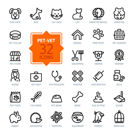 Outline web icon set - pet, vet, pet shop, types of pets Vectores