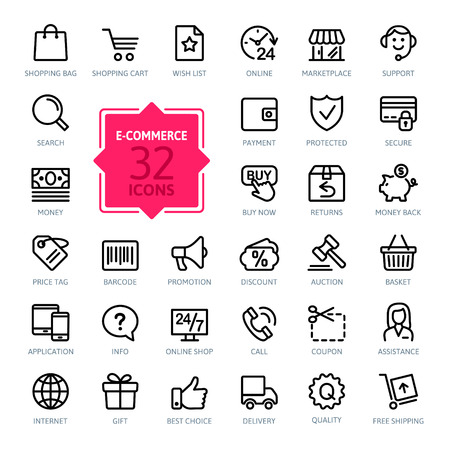 shopping cart online shop: E-commerce. Outline web icons set