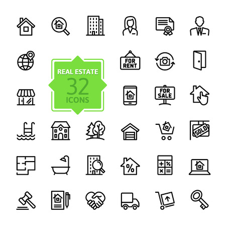 real estate sign: Outline web icons set - Real Estate, property