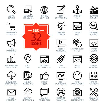 apoyo social: Iconos Esquema web set - Search Engine Optimization Vectores
