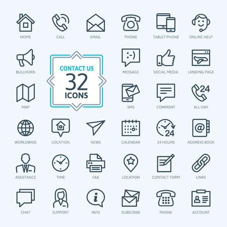 icone: Icone Outline web set - Contattaci Vettoriali