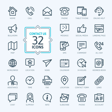 Outline web icons set - Neem contact met ons Stock Illustratie