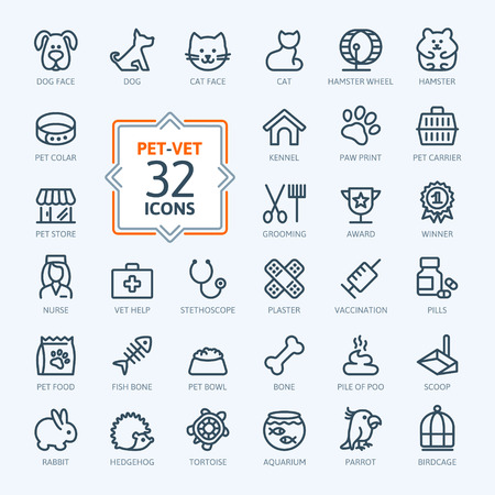 veterinary care: Outline web icon set - pet, vet, pet shop, types of pets Illustration