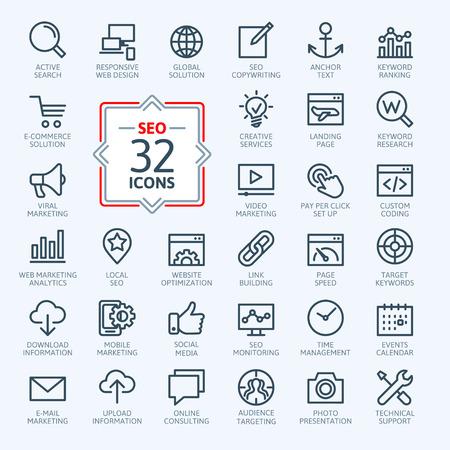 redes de mercadeo: Iconos Esquema web set - Search Engine Optimization Vectores