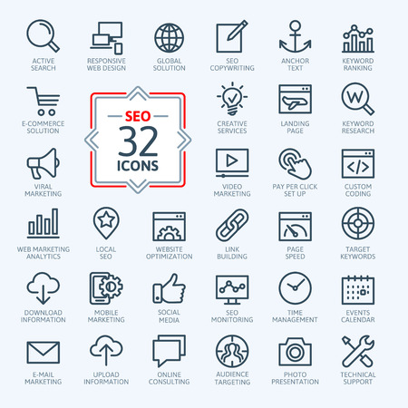 mail marketing: Outline web icons set - Search Engine Optimization