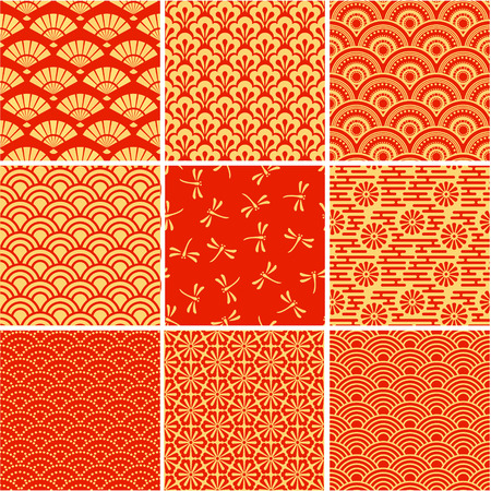 Red and gold - Japanese seamless backgrounds set