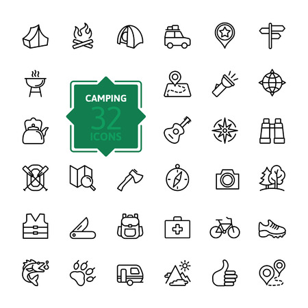 at first: Outline web icon set - summer camping, outdoor, travel. Illustration