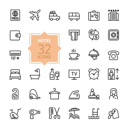 travel: Zarys internetowej zestaw ikon - Usługi w hotelu Ilustracja