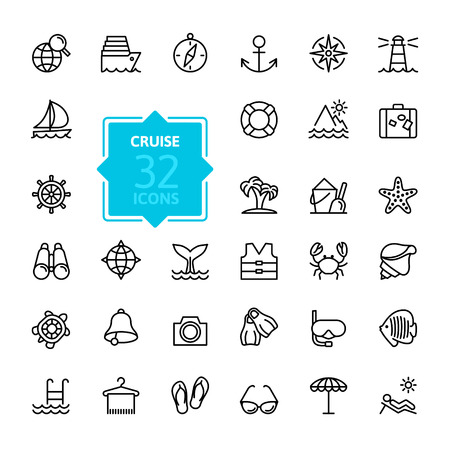 Outline web icon set - journey, vacation, cruise Vector