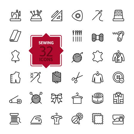 maquinas de coser: Las l�neas finas web icono conjunto - equipo de costura y costura