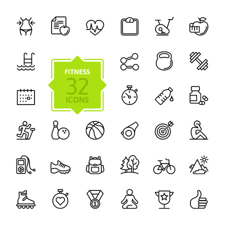 exercise equipment: Outline web icon set - sport and fitness