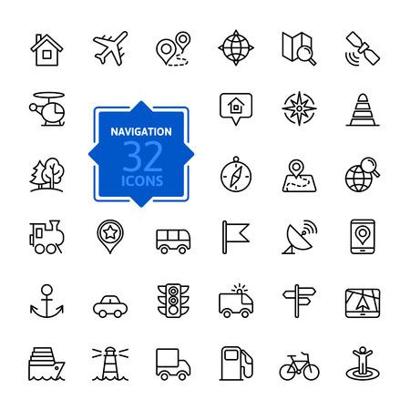 transport: Zarys ikony sieci web zestawu - nawigacja, lokalizacja, transportu
