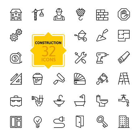 construction equipment: Outline web icons set - construction, home repair tools