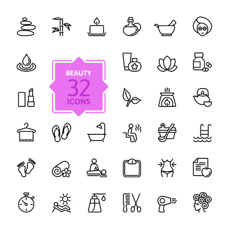 massage spa: Outline web icon set - Spa & Beauty