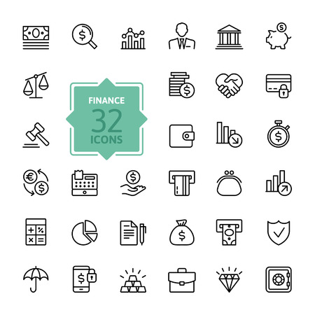 financial graphs: Outline web icon set - money, finance, payments