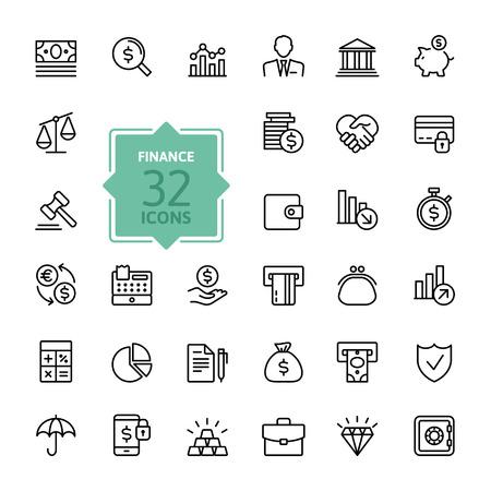 Outline web icon set - geld, financiën, betalingen