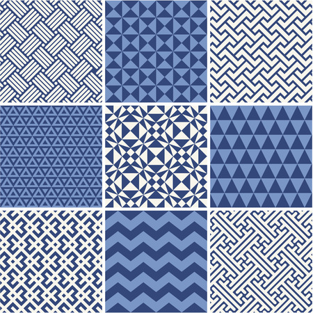 Set of monochrome geometric ornaments - white and blue. Vectores