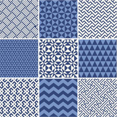Set of monochrome geometric ornaments - white and blue. Vettoriali
