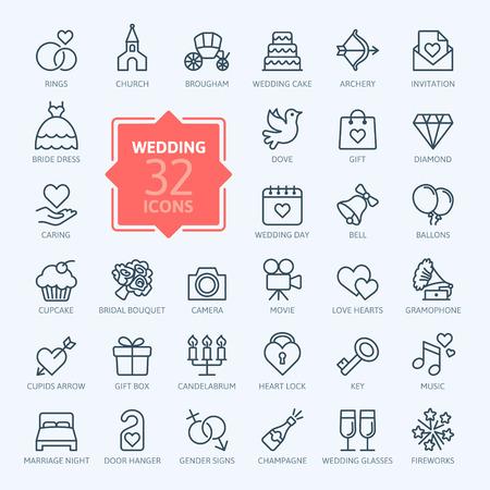 coeur diamant: Outline icône web mis en mariage Illustration