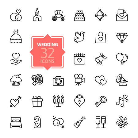 wesele: Zarys ikony internetowych ustawić ślubu Ilustracja