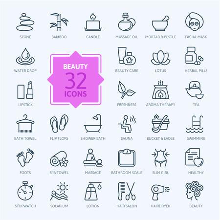 productos naturales: Las líneas finas web icono conjunto Spa Belleza Vectores