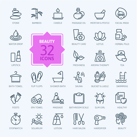 icona: Le linee sottili web icon set Spa Beauty Vettoriali