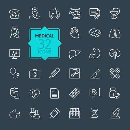 Thin lines web icon set Medicine and Health symbols