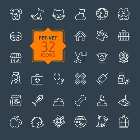 schildkroete: Dünne Linien Web Icon Set Pet Vet Pet Shop Arten von Haustieren Illustration