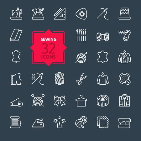 kit de costura: Las líneas finas web conjunto de iconos equipo de costura y costura