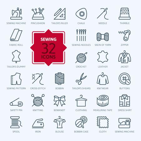 Cienkie linie web ikony zestaw sprzętu do szycia i robótek Ilustracje wektorowe