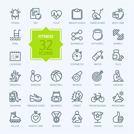 健身: 大綱網頁圖標設置的運動和健身 向量圖像