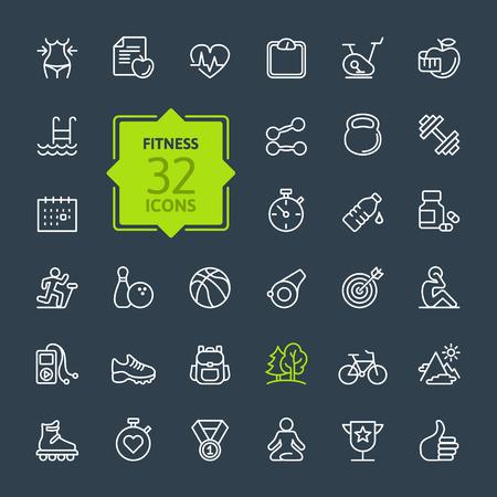 Outline web icon set Sport und Fitness Standard-Bild - 41709346