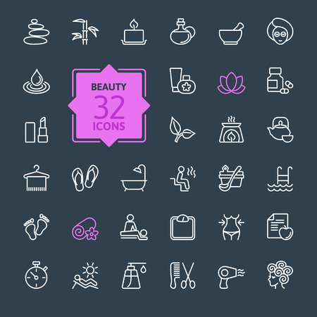 Thin lines web icon set Spa Beauty Vectores