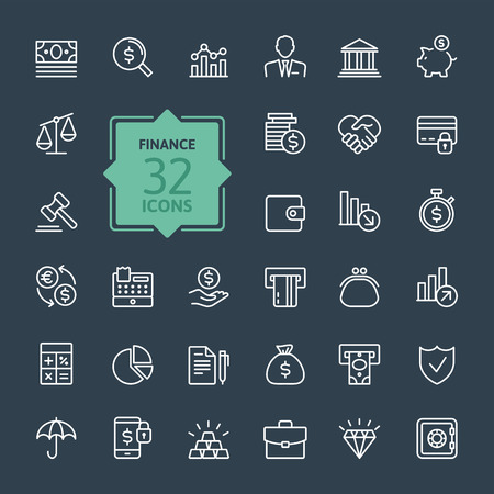 Outline web icon set money finance payments Vectores