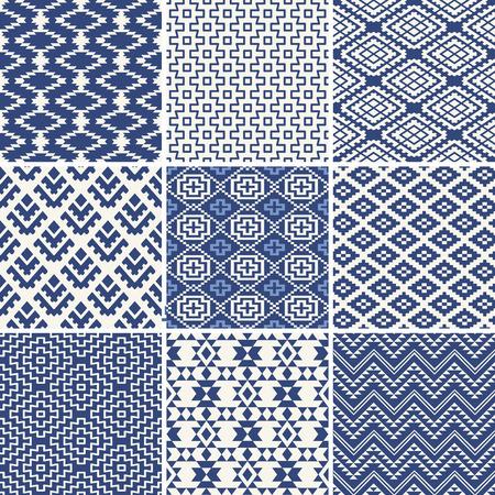 tribales: colecci�n de origen �tnico incons�til geom�trico en azul y blanco Vectores