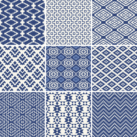 Geometric seamless ethnic background collection in blue and white Stock Illustratie