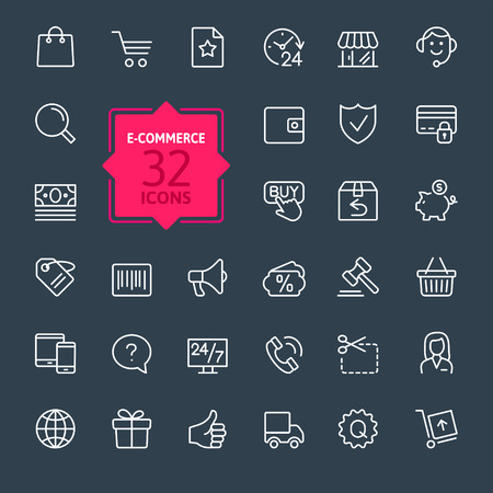 Ecommerce. Outline web icons set