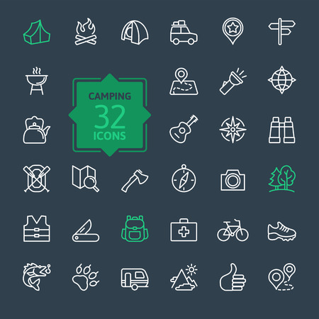 Outline icon set summer camping outdoor travel Illustration