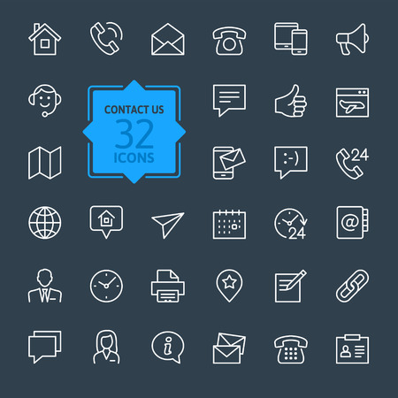 Iconos web conjunto contorno Contacto Ilustración de vector