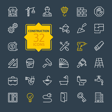 houses on water: Outline web icons set construction home repair tools Illustration