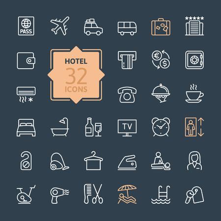 Icon Outline web mis les services de l'hôtel Banque d'images - 41785805