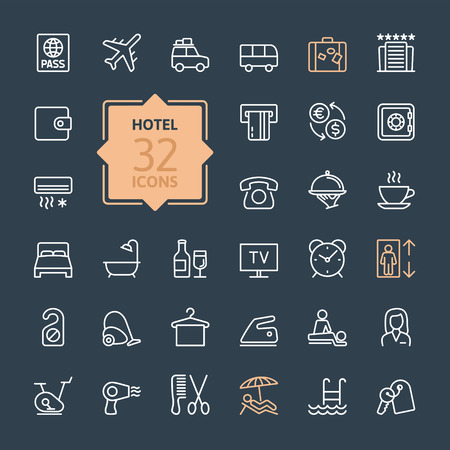 breakfast in bed: Outline web icon set Hotel services